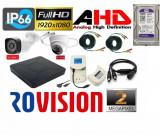 Cumpara ieftin Kit 2 camere supraveghere AHD 2MP 1080p Full HD + DVR 4 canale 5MP + Sursa + Cablu sertizat + Cablu splitter + HDD 500GB