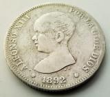 SPANIA - 2 Pesetas 1892 PG M - Alfonso XIII - Argint, Europa