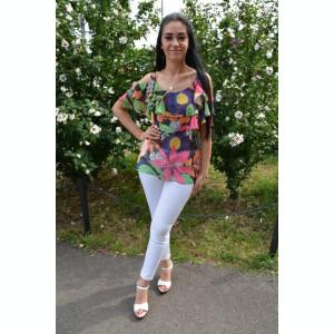 Bluza eleganta, nuanta multicolora cu decupaje pe umeri