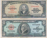 Lot 2 bancnote Cuba 5 20 Pesos 1949 1960 - vand bancnotele din imagine