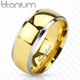 Inel-verighetă din titan cu mijloc lucios de culoare aurie și margini argintii, 8 mm - Marime inel: 62