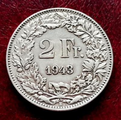 ELVETIA - 2 Franci 1943 B ( Francs - Franken ) Argint foto
