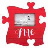 Tablita decorativa cu rama foto, model piesa puzzle, 30×30 cm, rosu