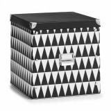 Cumpara ieftin Cutie decorativa pentru depozitare, din carton, Triangle Alb / Negru, L33,5xl33xH32 cm