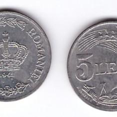 Romania 1942 - 5 lei zinc XF+ luciu partial