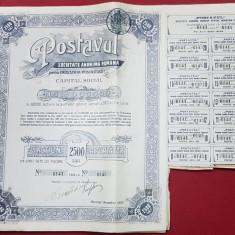 ACTIUNI LA PURTATOR, POSTAVUL - BUCURESTI 1920