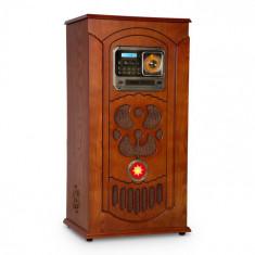 Auna Musicbox, jukebox, cutie muzicală, placă turnantă, CD player, BT, USB, SD, tuner FM, lemn