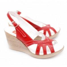 Sandale dama din piele naturala cu platforma - S88ROSU, 35 - 40, Alb, Bej, Negru, Rosu
