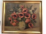 Tablou,pictura veche germana, in ulei,vaza cu maci si flori