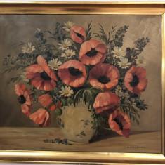 Tablou,pictura veche germana, in ulei,vaza cu maci si flori, Altul