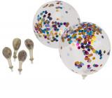 Baloane latex transparente cu confetti asortate - 30 cm, Radar 62/0817, set 6 buc