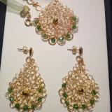 Cercei și colier handmade-din sârma de cupru placată cu aur