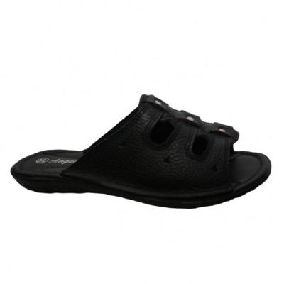 Papuc modern, din piele naturala, neagra, cu talpa joasa foto