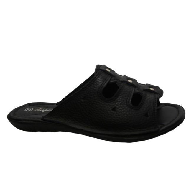 Papuc modern, din piele naturala, neagra, cu talpa joasa