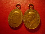 2 Medalii - 40 Ani Domnie Carol I , bronz -diferite cap rege mare si format mic