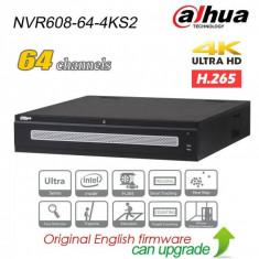 NVR 64 canale IP Dahua NVR608-64-4KS2 12MP, H.265, 8xSATA, 2xHDMI, ANR, RAID, functii inteligente