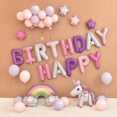 Set 44 baloane folie Unicorn magic 3d Happy Birthday 91x 61 cm