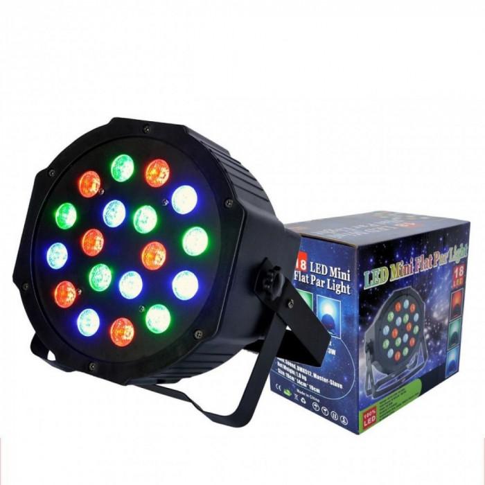 LICHIDARE STOC! PROIECTOR LUMINI RGB ,PAR CU LEDURI,18 LED x 3 WATT,AFISAJ,DMX.