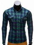 Camasa pentru barbati verde slim fit casual elastica flanel cu guler k312