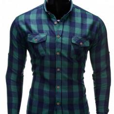 Camasa pentru barbati, verde, slim fit, casual, elastica, flanel cu guler - k312