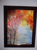 """PICTURA, TABLOU modern, decorativ,""""Linistea lacului"""",  NOU ,  pictor roman"""