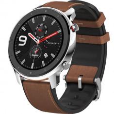 Smartwatch Amazfit GTR 47MM Carcasa Aluminiu si Curea Maro