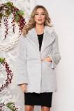 Blana SunShine gri din blana ecologica cu maneci lungi cu buzunare si inchidere cu capse