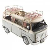 Macheta Microbuz VW Retro din metal gri crem 19 cm x 10 cm x 12 h