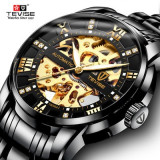 Cumpara ieftin Ceas Luxury Diamond Full Automatic Skeleton Tevise Black Gold 2020 Barbati