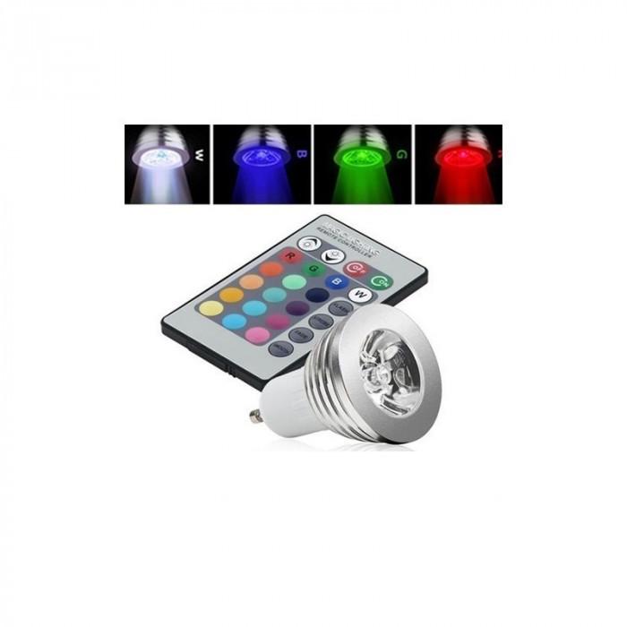 Spot LED GU10 4W 16 culori cu reglare si telecoman