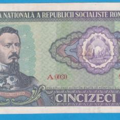 (1) BANCNOTA ROMANIA - 50 LEI 1966 RSR, PORTRET A.I. CUZA, STARE BUNA