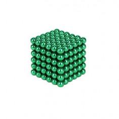 Joc Puzzle Antistres NeoCube cu Bile Magnetice 216 Bucati, Diametru Bile 5mm, verde