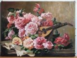 43 Tablou cu Flori Trandafiri si cobza reproducere celebra Tablou floral 60x45cm