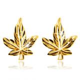 Cumpara ieftin Cercei din aur strălucitor 14K - o frunză de Cannabis cu vene și tulpină