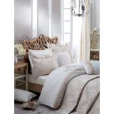 SET LUXURY Cottonbox Platinum Series: Cuvertura si Lenjerie de pat King din bumbac 100% Carmela Ekru