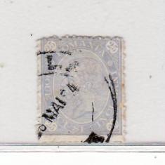 Romania  1894   Carol I  - Cifra in 4 colturi  25 b. stampilat   filigran  PR