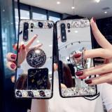 Husa oglinda cu inel si pietricele pt. Huawei P40 Lite , P40 Lite E, P Smart Z, Alt model telefon Huawei, Argintiu, Mov, Silicon
