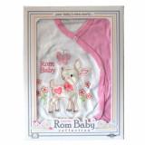 Cumpara ieftin Set nou nascuti 0-3 luni 100% bumbac din 5 piese: pantaloni cu botosel, bluzita cu capse, bavetica, caciulita, manusi, model alb/roz cu caprioara vese