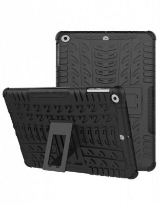 Carcasa protectie spate cu suport din plastic si gel TPU pentru iPad 9.7 inch (2017 2018) neagra foto
