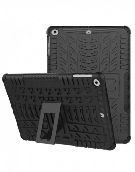 Carcasa protectie spate cu suport din plastic si gel TPU pentru iPad 9.7 inch (2017 2018) neagra