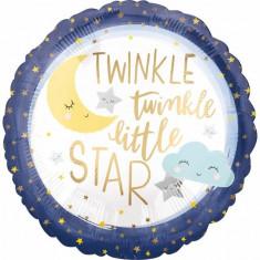 Balon botez folie metalizata 43cm Twinkle Little Star