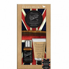 Set cadou Fuzzy Duck Men's Beard Kit: Sampon pentru barba, 100ml + Gel pentru curatarea tenului, 50ml + Balsam pentru barba, 50ml