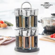 Raft Suport de Condimente cu 12 Mirodenii Bravissima Kitchen