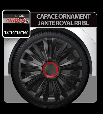 Capace ornament jante Royal RR BL 4buc - Negru/Rosu - 15' - CRD-VER1552BL Auto Lux Edition