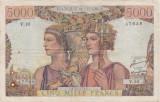 FRANTA 5000 FRANCS FRANCI TERRE ET MER 10-3-1949 UZATA