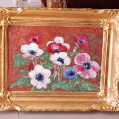 Tablou pictura Sever Burada - Anemone - ulei pe carton, Flori, Impresionism