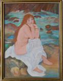 """Reproducere RENOIR, in culori acrilice, """"Seated Nude"""", 30x40 cm, rama din lemn"""