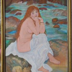 Nud sezand-pictat  in culori acrilice-reproducere RENOIR-44x34cm, rama lemn