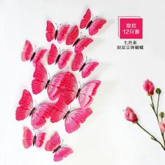 Fluturi 3D magnet, dubli, decoratiuni casa, evenimente, 12 bucati, roz, A29