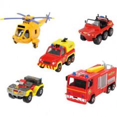 Set 4 Masinute si un Elicopter Fireman Sam